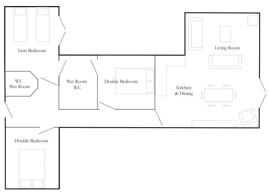 Church Farm Barns Cottage Floorplan - The Big Workshop