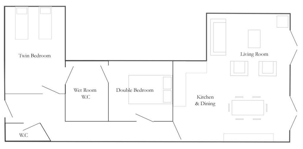 Church Farm Barns Cottage Floorplan - The Little Workshop